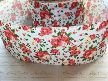 Christmas Floral Grosgrain Ribbon