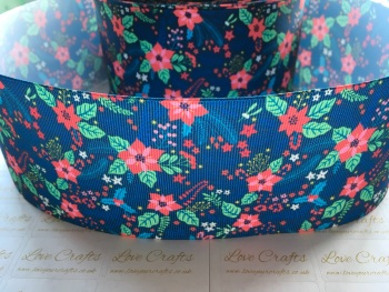 Poinsettia Floral Grosgrain Ribbon