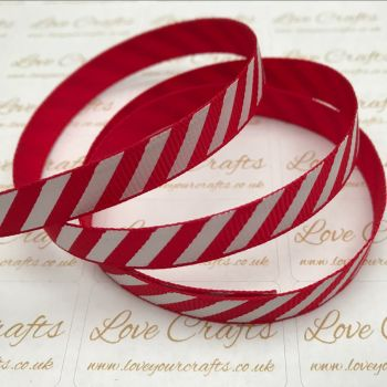 "3/8"" Red & White Diagonal Stripe Grosgrain Ribbon"