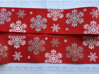 "3"" Rainbow Laser & White Snowflakes on Red Grosgrain Ribbon"