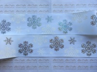"3"" Rainbow Laser & White Snowflakes on White Grosgrain Ribbon"