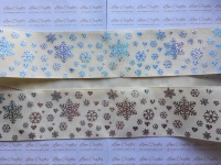 "3"" Rainbow Laser Snowflakes & Hearts on Cream Grosgrain Ribbon"