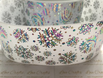 "3"" Rainbow Laser Snowflakes on White Grosgrain Ribbon"