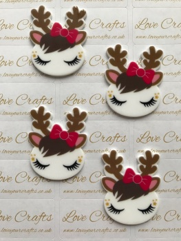 Sleepy Reindeer with Bow Laser Resin