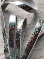 "3/8"" Silver Laser Ribbon"