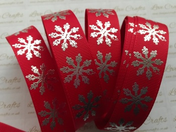 "7/8"" Red with Silver Laser Snowflakes Grosgrain Ribbon"