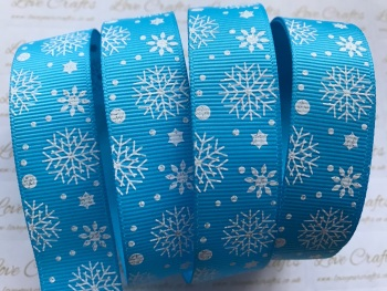 "7/8"" White Glitter Snowflakes on Blue Grosgrain Ribbon"