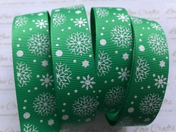"7/8"" White Glitter Snowflakes on Green Grosgrain Ribbon"