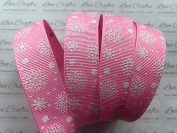 "7/8"" White Glitter Snowflakes on Pink Grosgrain Ribbon"
