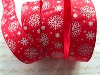 """7/8"""" White Glitter Snowflakes on Red Grosgrain Ribbon"""
