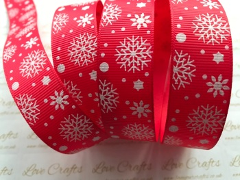 "7/8"" White Glitter Snowflakes on Red Grosgrain Ribbon"
