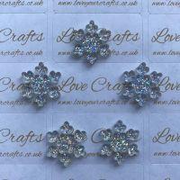 AB Glitter Snowflake Resin - 18mm