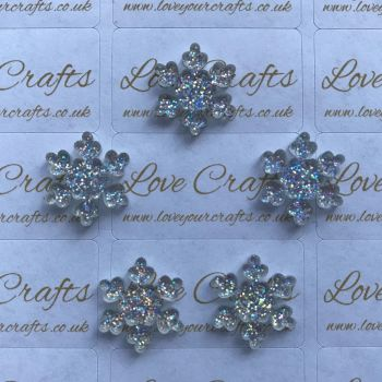 AB Glitter Snowflake Resin - 18mm