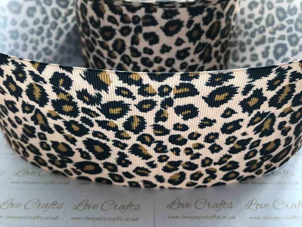 "Rainbow Leopard printed ribbon 3//8/""  2 METRES"
