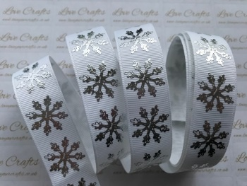 "7/8"" White with Silver Laser Snowflakes Grosgrain Ribbon"