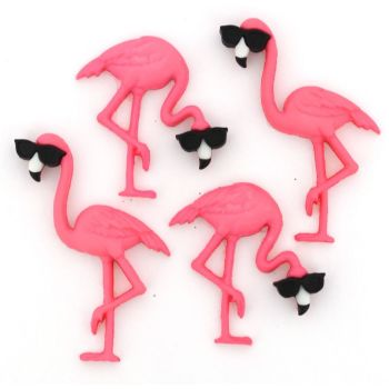 Dress It Up Buttons: Think Pink Flamingos