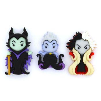 Dress It Up Buttons: Ursula, Cruella De Vil & Maleficent
