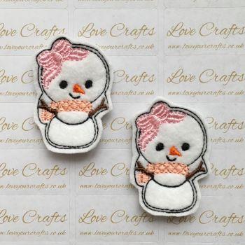 Pink Scarf & Bow Snowgirl Feltie