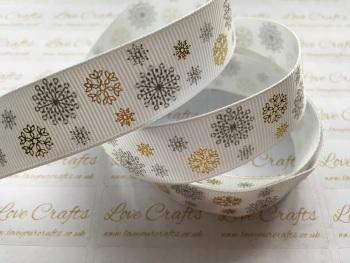 """7/8"""" Silver Print & Gold Foil Snowflake Grosgrain Ribbon"""