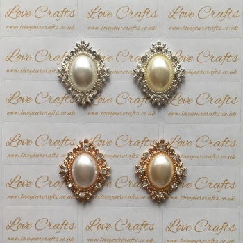 NEW Gold/Silver Pearl Oval Rhinestone Bling Centre