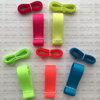 "3/8"" & 1"" Neon Grosgrain Ribbon Bundle"