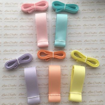 "3/8"" & 1"" Pastel Grosgrain Ribbon Bundle"
