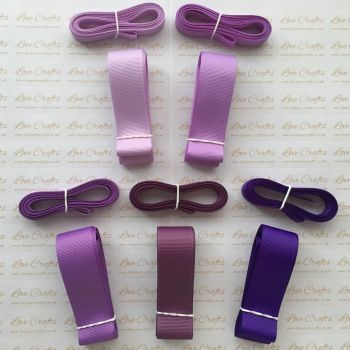 "3/8"" & 1"" Perfect Purples Grosgrain Ribbon Bundle"