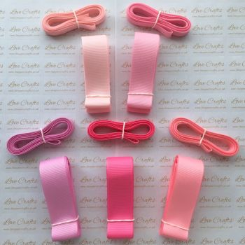 "3/8"" & 1"" Pretty Pinks Grosgrain Ribbon Bundle"