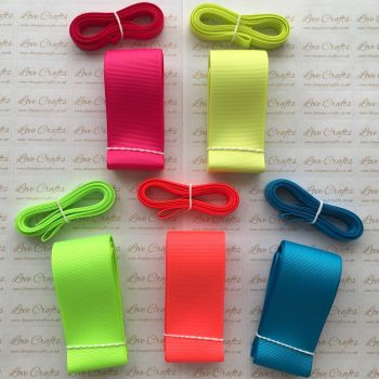"3/8"" & 1.5"" Neon Grosgrain Ribbon Bundle"