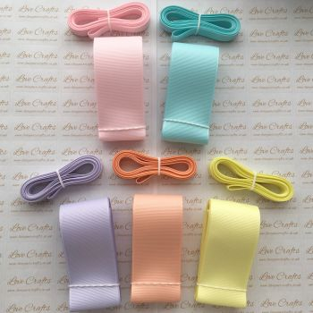 "3/8"" & 1.5"" Pastel Grosgrain Ribbon Bundle"