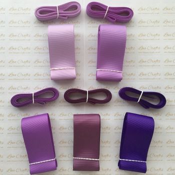 "3/8"" & 1.5"" Perfect Purples Grosgrain Ribbon Bundle"
