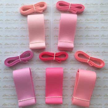 "3/8"" & 1.5"" Pretty Pinks Grosgrain Ribbon Bundle"