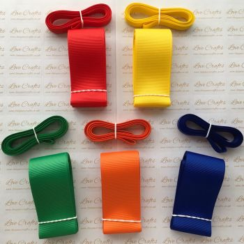 "3/8"" & 1.5"" Rainbow Grosgrain Ribbon Bundle"