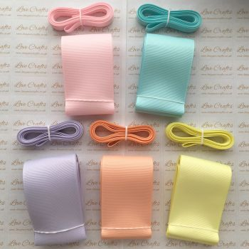 "3/8"" & 2"" Pastel Grosgrain Ribbon Bundle"