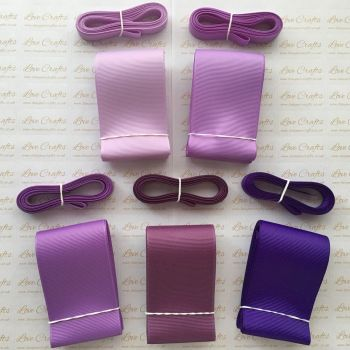 "3/8"" & 2"" Perfect Purples Grosgrain Ribbon Bundle"