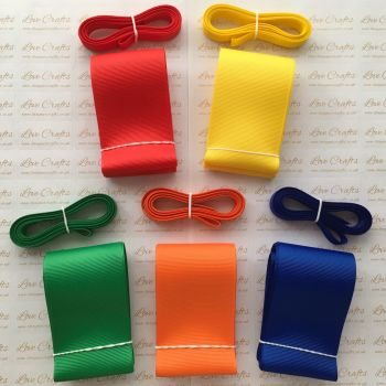 "3/8"" & 2"" Rainbow Grosgrain Ribbon Bundle"