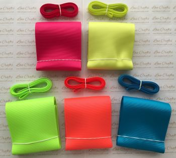 "3/8"" & 3"" Neon Grosgrain Ribbon Bundle"