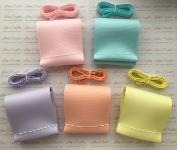 "3/8"" & 3"" Pastel Grosgrain Ribbon Bundle"