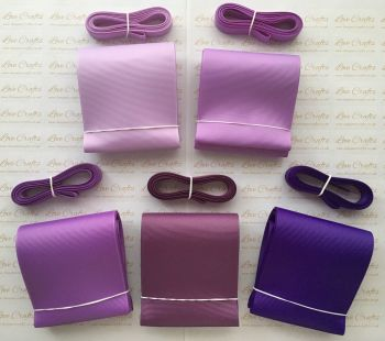 "3/8"" & 3"" Perfect Purples Grosgrain Ribbon Bundle"