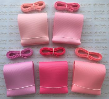 "3/8"" & 3"" Pretty Pinks Grosgrain Ribbon Bundle"