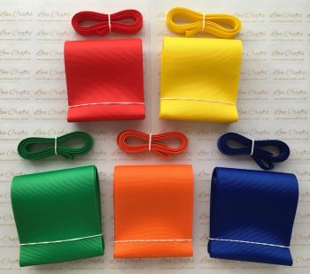 "3/8"" & 3"" Rainbow Grosgrain Ribbon Bundle"