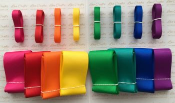 "3/8"" & 2"" New Rainbow 1 Grosgrain Ribbon Bundle"
