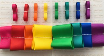 "3/8"" & 3"" New Rainbow 1 Grosgrain Ribbon Bundle"