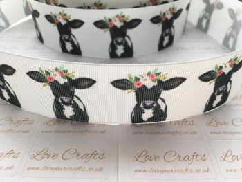 "1.5"" Floral Cow Grosgrain Ribbon"