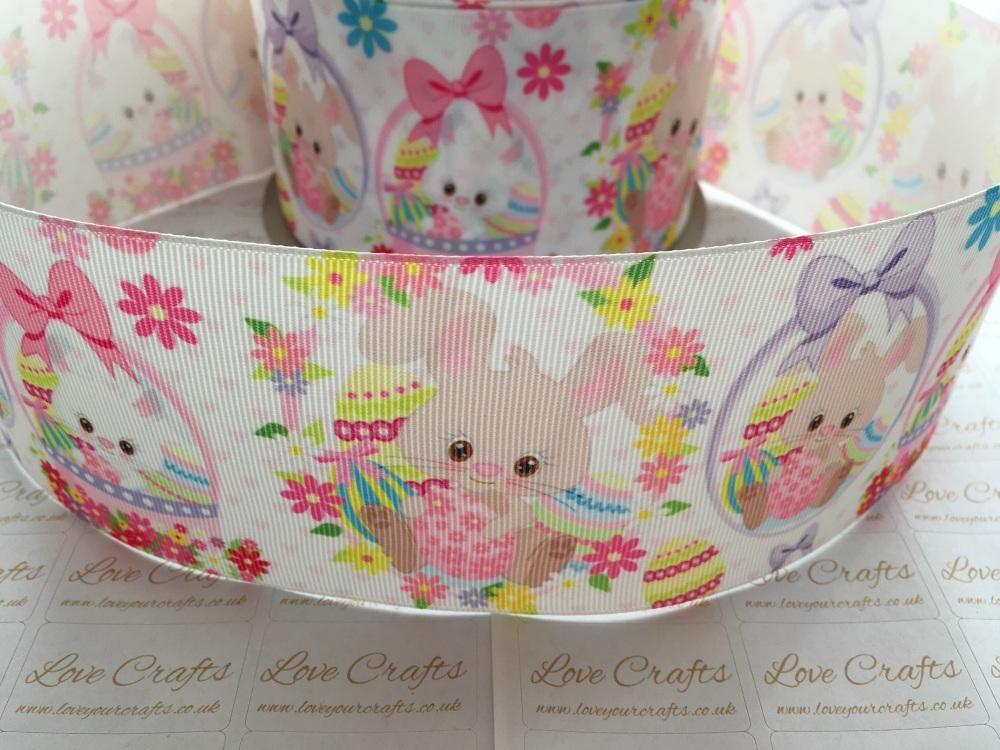 Easter Bunnies & Flowers Grosgrain Ribbon
