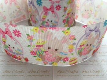 Easter Bunnies & Flowers Grosgrain Ribbon