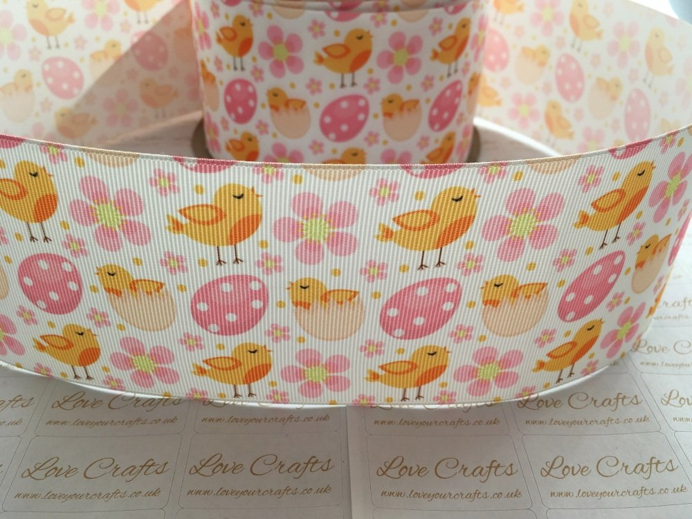 Easter Chicks & Flowers Grosgrain Ribbon