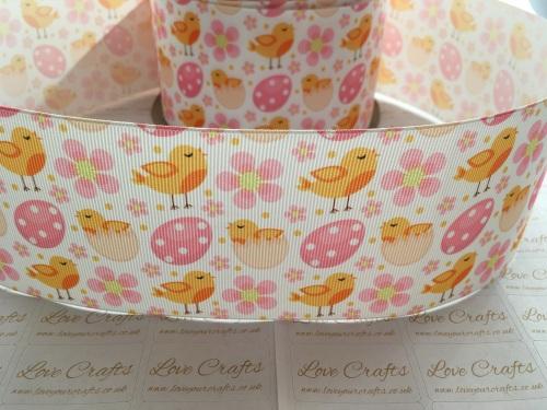 Easter Chicks & Flowers Grosgrain Ribbon