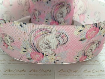 Floral Unicorn Love Grosgrain Ribbon