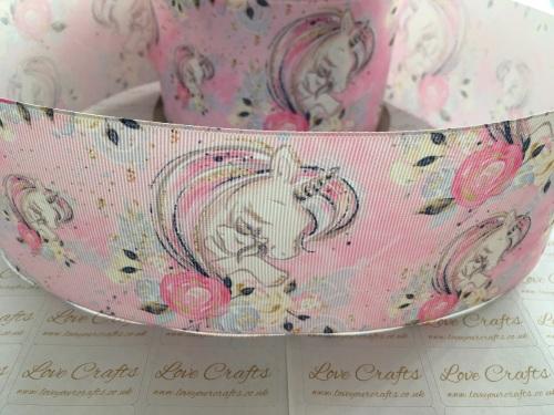 Floral Unicorn Love Grosgrain Ribbon